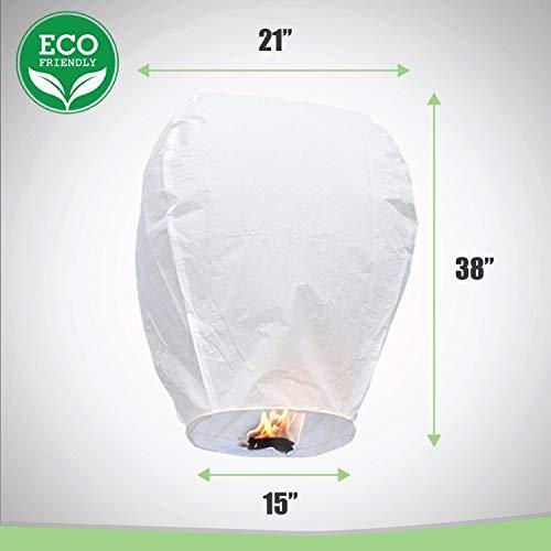 Fly Paper Candle Lantern (10-pack) - Lanterns To Release In Sky | All Natural & Environmentally Safe | Anniversary Wishlantern | Wishlanterns Party Light Celebration w/ Marker Pen - By Luma Lanterns by Luma Lanterns (Image #6)