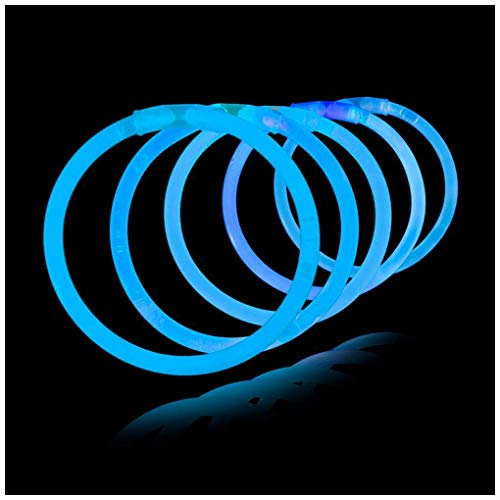 Lumistick 8 Inch Glow Sticks - Bendable Glow Sticks With Necklace and Bracelet Connectors - Glowstick Bundle Party Bracelets (100, blue)