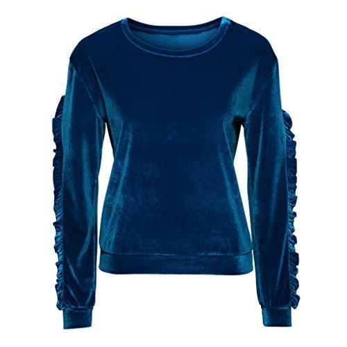 Velours hiver shirts Sweat Chic 2017 manches Grande longues Pull Vintage Bleu Automne Longra Uni Femme Taille Originaux Col rond Classique Blouses Shirt Chemisiers Tops Volants OdqcZn