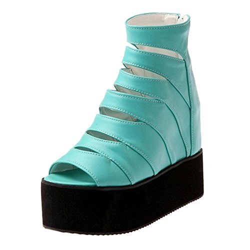 High Heel Flatform Blue 26 Shoes TAOFFEN Sandals Women's 1CHwEq5q