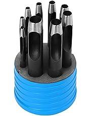 S&R Sacabocados Punzones para Cuero. Juego 9 Sacabocados de golpe perforadores redondos en acero de alta calidad de 3 mm a 14 mm