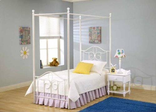 Hillsdale Furniture 1354BTWP Westfield Canopy Bed Set, Twin, Off White - Arched Panel Bed Set