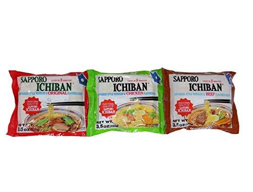 Sapporo Ichiban Ramen Instant Noodles Variety Pack, 3 Flavors, Original Beef Chicken, Pack of 18 - Ichiban Ramen