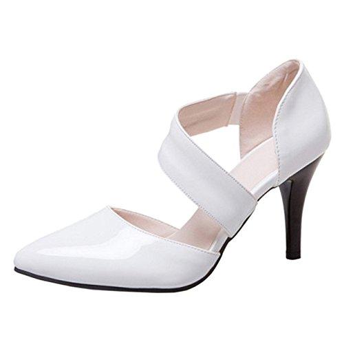 JOJONUNU White Tacon Zapatos Mujer Alto WR4vwxRfq