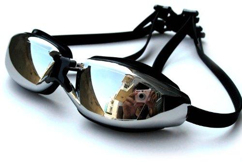 Novawo Prescription Goggles Swim for Men Women (Black, 300 degrees)
