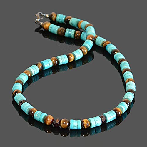 Turquoise Tiger - Native American inspired Bohemian Southwestern tribal surfer turquoise garnet and tigers eye beaded handmade mens choker necklace with clasp