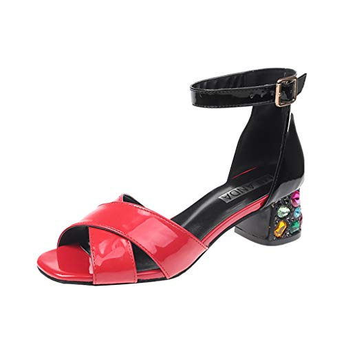 Benficial Summer Fashion New Mid-Heel Sandals Open Toes One-Word Buckle Women Shoes Red