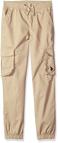 U.S. Polo Assn. Little Boys' Jogger, Ribbed Waistband Twill Light Khaki, 5