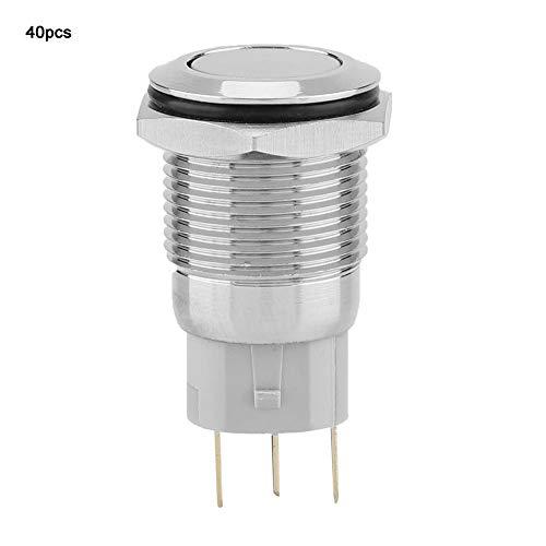 メタルボタンスイッチ、40個16mm IP65防水耐久性のある3ピンフラットヘッドセルフロッキングメタルプッシュボタンスイッチ、磁気スターターコンタクターリレー用