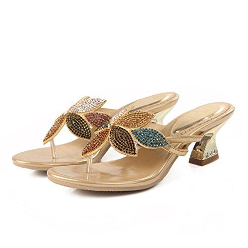 xie Diamant Couleur épais d'été Strass 7 Sandales Taille Femmes Fleur Diamant Nouvelles Femmes Sandales Talon Grande rq8rxAw0