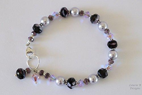 Handmade Swarovski Crystal Beaded Bracelet (Purple Bracelet Swarovski Crystal Pearl Sterling Silver Handmade Violet)