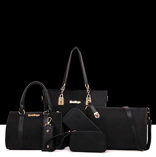 Diagonal Package Waterproof Sets Bag Ladies Nylon 6 Handbag Handbags Black Shoulder Of dUFwxa5dq