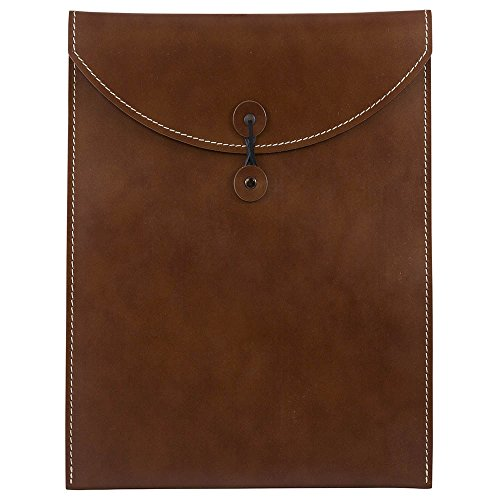 - JAM Paper 9 1/2 x 12 1/2 Leather Portfolio Envelope with Button & String - Brown - Sold Individually