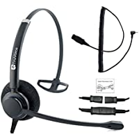 Professional Single Ear Headset with a Noise Canceling Microphone and a 2.5mm Adapter Cable for Polycom Ip 320, IP330, IP321, IP331, Cisco Spa, at&T, VTech, Panasonic and All Phones with a 2.5mm Port