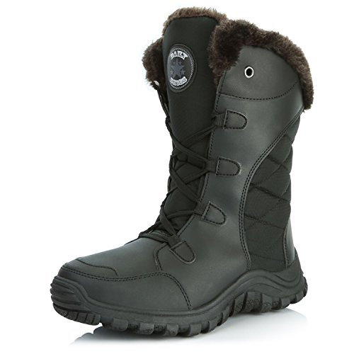 DailyShoes Womens Comfort Round Toe Mid Calf Hiking Outdoor Ankle High Eskimo Winter Fur Snow Boots