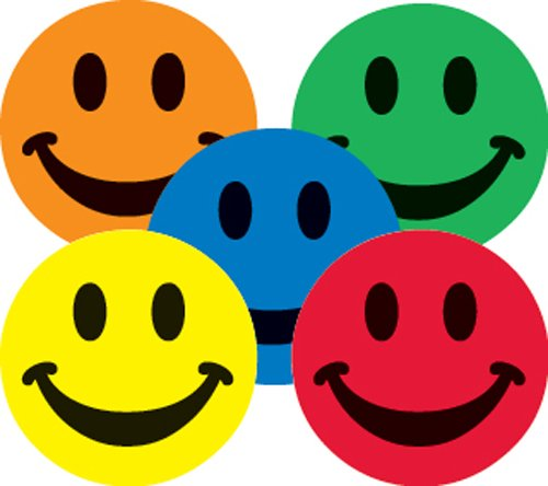 Adhesive Label 16689C Teacher Assorted Smiley Face School Stickers, 1-Inch, Multicolor, 100 Per Roll