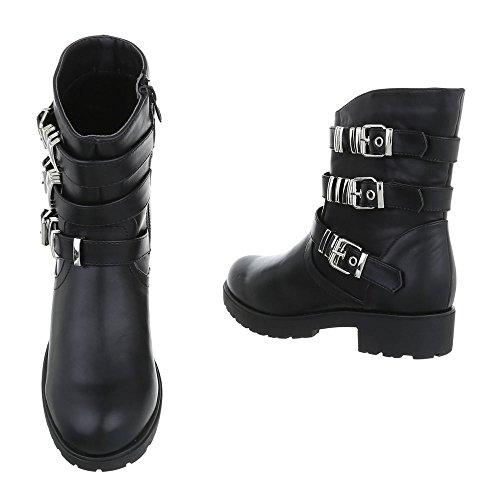 Blockabsatz Black Cowboy Damen Biker Stiefel Design bei Boots Ankle Ital 775qzxra