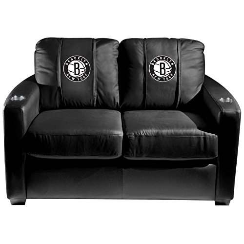 XZipit NBA Silver Loveseat with Brooklyn Nets Secondary Logo Panel, Black