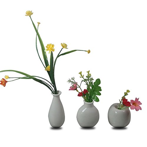 CRH600 3 Mini Little Buddies Ceramic Bud Vases for Flowers, Plants Floral Decor, Vintage Collectible Vases, Vintage Porcelain (White) ()