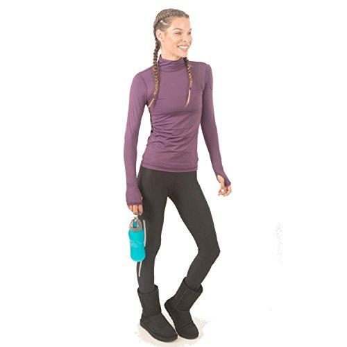 BloqUV Women's Sun-Protective Long-Sleeve Turtleneck T-Shirt, Black Berry (Berry Turtleneck)