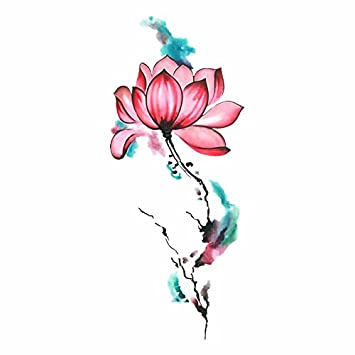 f126f8050 Amazon.com : Set of 2 Waterproof Temporary Fake Tattoo Stickers Sexy Cool Pink  Lotus Flowers Oil Paint Vintage Large : Beauty