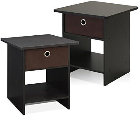 FURINNO Home Living Storage Shelf with Bin Drawer, 2-Pack, Espresso/Brown