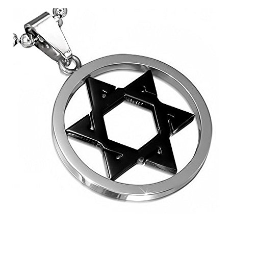 Enamel Star Of David Pendant - Stainless Steel Silver-Tone Black Jewish Star of David Charm Pendant Necklace with Chain, 24