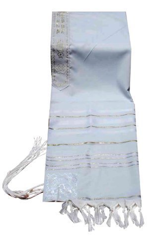 Acrylic Tallit (imitation Wool) Prayer Shawl in White and Gold Size 24