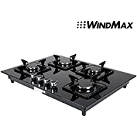 Windmax 28 in BlackTempered Glass 4 Burner Built-In Stove NG Gas Cooktop Cooker