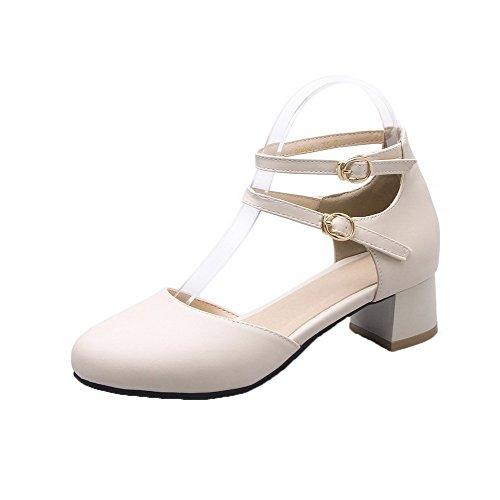 PU Toe Low Shoes Pumps Buckle VogueZone009 Round Beige Women's Solid Heels aEPwSgq