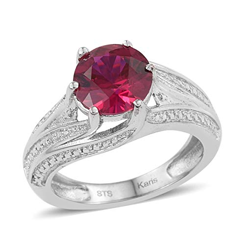 Shop LC Delivering Joy Round Created Ruby Statement Ring for Women Jewelry Gift Size 7 Cttw - Ruby Ring Cluster