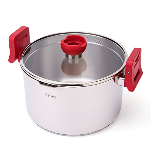 MICHELANGELO 5 Quart Stainless Steel Pasta Pot Induction Ready With Strainer Glass Lid & Red Lock Handles, 5 qt Stainless Steel Stock Pot PFOA Free, Stainless Steel Dutch Oven, 5-Quart Saucepan