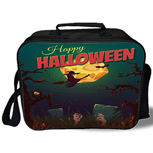 Halloween 3D Print Insulated Lunch Bag,Happy Halloween Poster Design Witch on Broom Mushroom Dead Resurgence Vintage Decorative,for Work/School/Picnic,Multicolor -