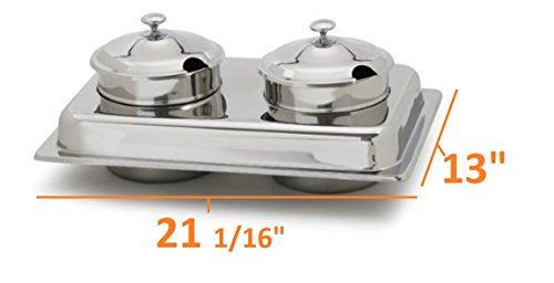Royal Industries 2 Piece Soup Station Lid Set, mirror finish, 4 qt Inset, Stainless steel (Double Chafing Dish)