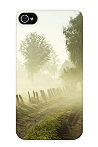 Exultantor Perfect Tpu Case For Iphone 4/4s/ Anti-scratch Protector Case (nature Landscapes Fog Trees Morning )