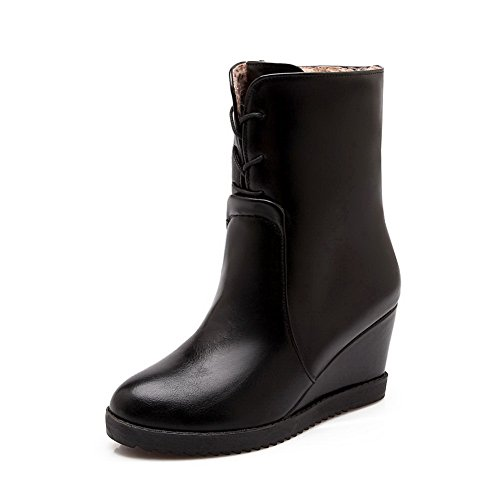Thick Matching AdeeSu Ladies Black Color Bandage Leather Imitated Boots Bottom Zipper Heel rgwgtcqE