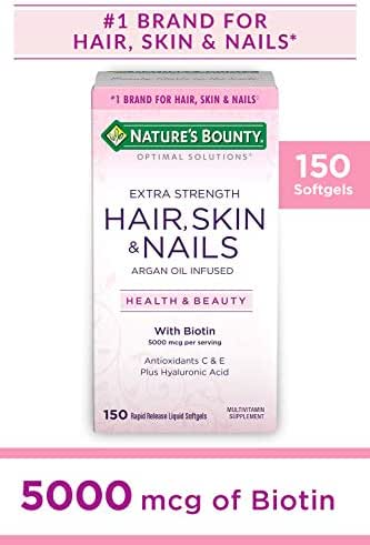 Nature's Bounty Optimal Solutions Hair, Skin & Nails Extra Strength, 5000 Mcg, 150 Softgels