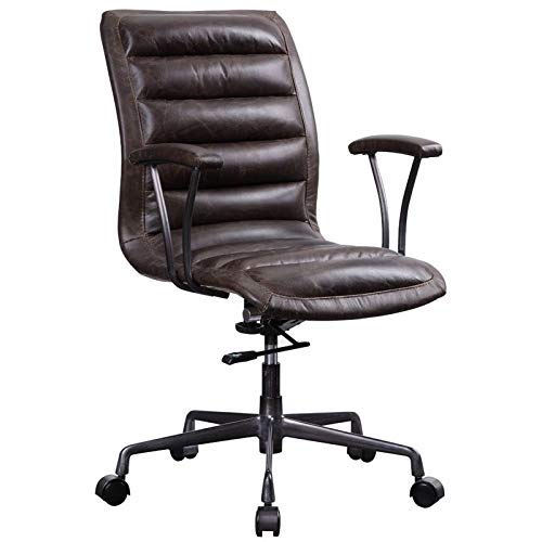 ACME Furniture 92558 Zooey Executive Office Chair Distress Chocolate Top Grain Leather