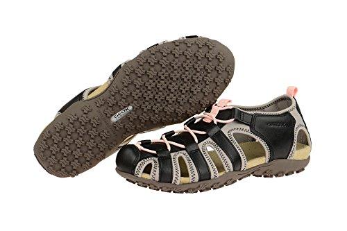 Geox Donna D7125u 05415 C4254 - H1836 Dames Sandaal Elastieken Leren Binnenzool Zwart / Grijs Lt