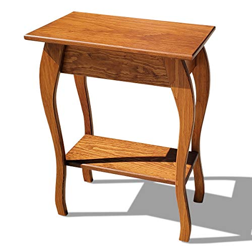 Slim Wooden End Table Amish Furniture | Thin Narrow Side Tables for Living Room, Hallway, or Nightstand (Cherry)