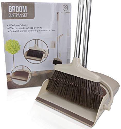 Broom and Dustpan Set Upright - Stand Up Dust Pan with Long Handle Dustpan and Brush Set - Standup Dust Pans and Brooms For Hardwood Floors & Clean Garage Floor Tiles - Outdoor Wisp Scraper Combo Lock