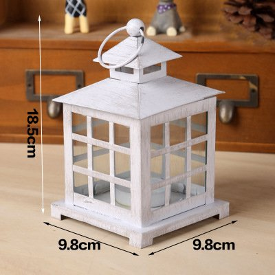 White Wooden House Shape Lantern Tea Light Candle Holder | ChristmasTablescapeDecor.com