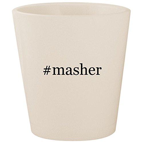 Masher Egg Mashy (#masher - White Hashtag Ceramic 1.5oz Shot Glass)