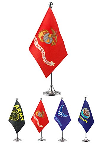 GentleGirl.USA US Marine Corps Table Flag Stick Small Mini United States Military Polyester Flag Office Table Flag on Stand Base,for Army Party Events Celebration Decorations Supplies ()