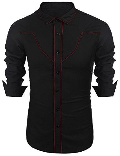 COOFANDY Mens Button Down Cotton Retro Western Cowboy Contrast Piping Shirt,XX-Large,Red and Black