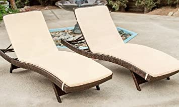 lakeport outdoor adjustable chaise lounge chairs with cushion set of 2