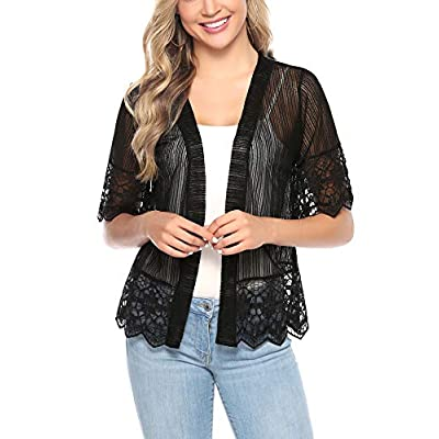 Aibrou Short Sleeve Cardigans Lace Boleras Shrugs for Women Dress S-XXL at Women's Clothing store