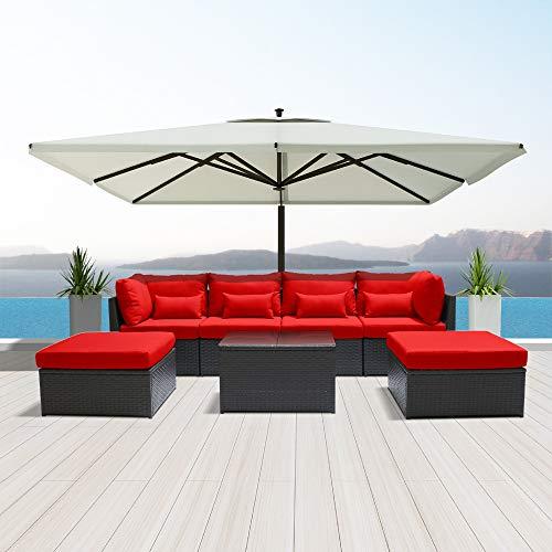 Dineli Outdoor Sectional Sofa Patio Furniture Wicker Conversation Espresso Brown Rattan Sofa Set C7 (red)