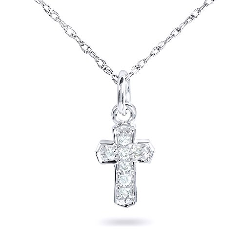 Tiny Diamond Accented Cross Pendant Chain in 14K Gold