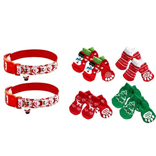 POPETPOP 2pcs Adjustable Pet Dog Puppy Cat Christmas Santa Collars with Bells and 4 Pairs Non Slip Dog Socks with Christmas Tree Snowflakes Rreindeer Snowman Size L ()